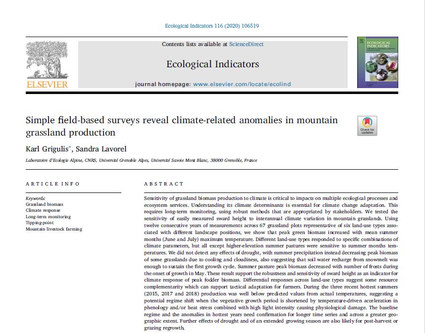 Une publication scientifique sur les suivis de production fourragère