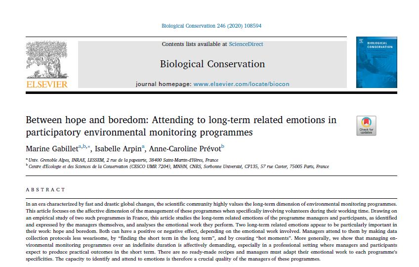 Entre espoir et lassitude : une publication scientifique sur les émotions suscitée par les dispositifs de long terme tel qu'« Alpages Sentinelles »